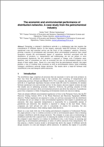 The economic and environmental performance of distribution networks