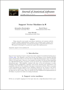 Support Vector Machines in R - ePubWU